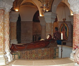 Mary lying asleep in death in the Church of Dormition, Jerusalem