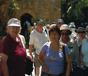 New Zealand pilgrims at the House of the Virgin Mary, near Ephesus in Turkey