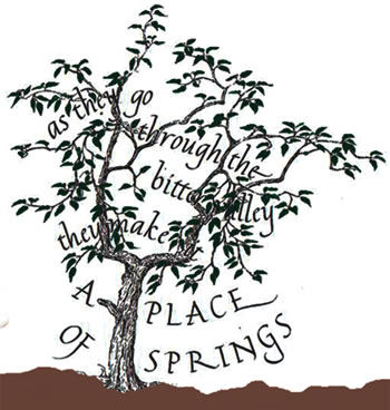 Stylised drawing of the pear tree by Marie Angel, great-niece of Venerable Mary Potter, incorporating the psalm verse which expressed the heart of LCM spirituality.