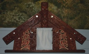 The beautifully carved tabernacle in the church.