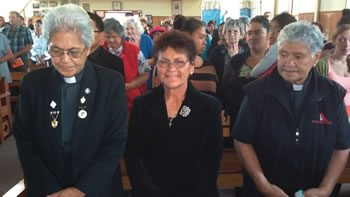 From left to right Mini Pouwhare, Libya Heke, and Polly Tamepo are the Anglican ministers who joined the congregation for the occasion.