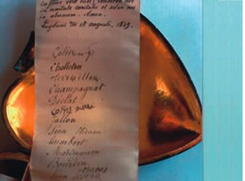 The heart containing the names of Marists