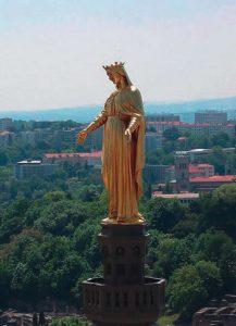 Statue on the tower of the Basilica of Notre Dame de Fourvière
