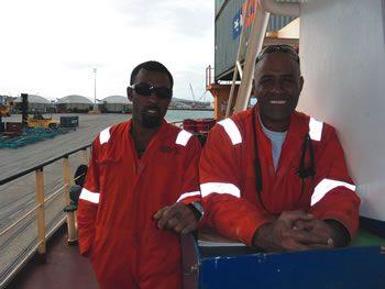 patia Laveta and Joseph Salele, from Fiji, crew members of the Capitaine Cook